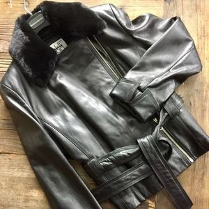 Leather biker-style jacket (NEW)